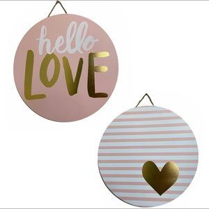 Hello Love & Striped Heart Circle Wall Hanging